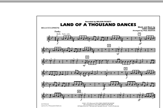 Land Of A Thousand Dances - Bells/Xylophone (Marching Band)