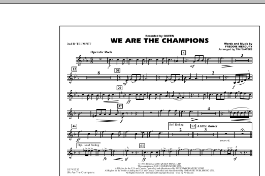 We Are The Champions - 2nd Bb Trumpet (Marching Band)