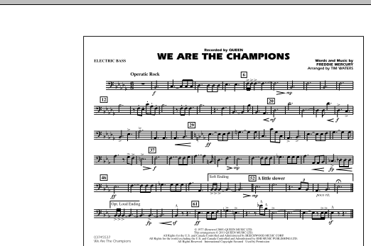 We Are The Champions - Electric Bass (Marching Band)