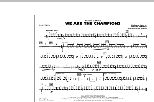 We Are The Champions - Snare Drum (Marching Band)
