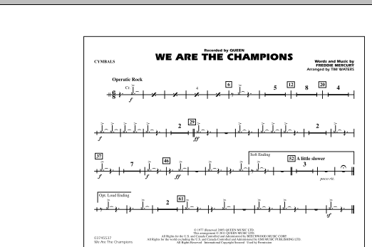 We Are The Champions - Cymbals (Marching Band)