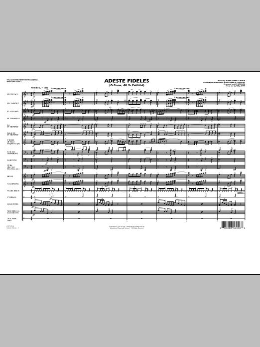 Adeste Fideles (O Come, All Ye Faithful) (COMPLETE) sheet music for marching band by John Francis Wade, Frederick Oakeley, Jay Bocook and Will Rapp. Score Image Preview.