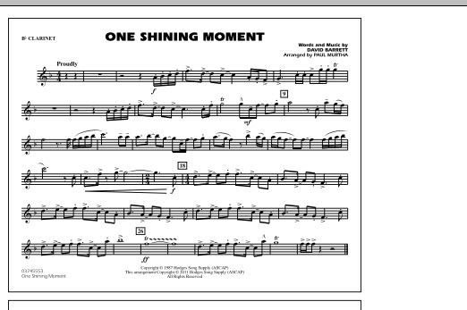 One Shining Moment - Bb Clarinet (Marching Band)
