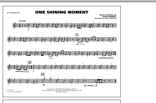 page one of One Shining Moment - Bb Tenor SaxASALTTEXT