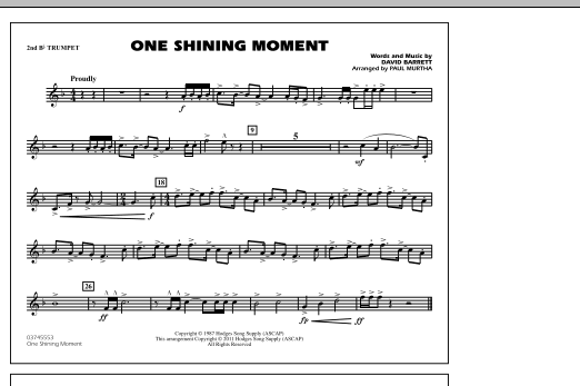 page one of One Shining Moment - 2nd Bb TrumpetASALTTEXT