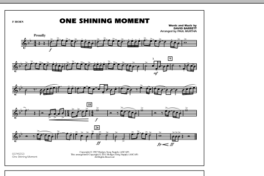One Shining Moment - F Horn (Marching Band)