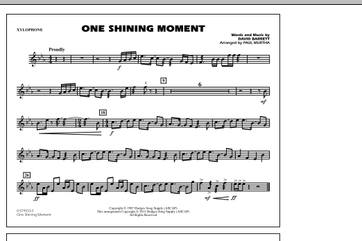 One Shining Moment - Xylophone (Marching Band)
