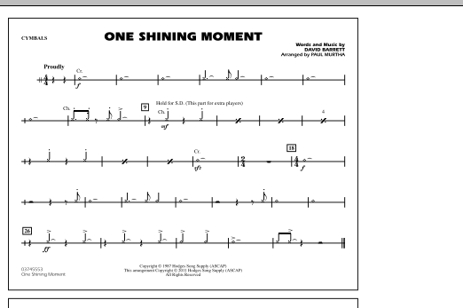 One Shining Moment - Cymbals (Marching Band)