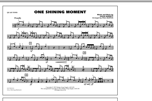 One Shining Moment - Quad Toms (Marching Band)