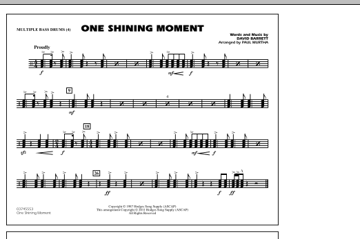 One Shining Moment - Multiple Bass Drums (Marching Band)