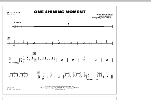 page one of One Shining Moment - Aux PercussionASALTTEXT