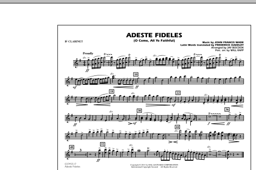 Adeste Fideles (O Come, All Ye Faithful) - Bb Clarinet (Marching Band)