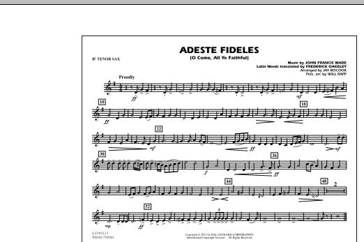 Adeste Fideles (O Come, All Ye Faithful) - Bb Tenor Sax (Marching Band)
