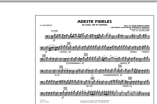 Adeste Fideles (O Come, All Ye Faithful) - 1st Trombone (Marching Band)