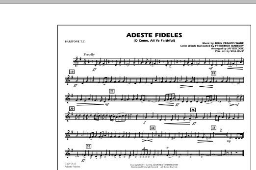 Adeste Fideles (O Come, All Ye Faithful) - Baritone T.C. (Marching Band)