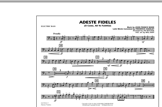 Adeste Fideles (O Come, All Ye Faithful) - Electric Bass (Marching Band)