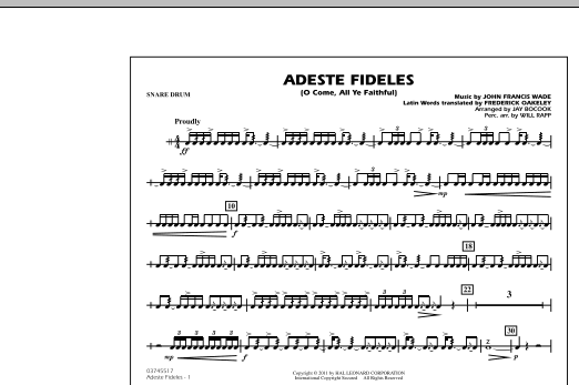 Adeste Fideles (O Come, All Ye Faithful) - Snare Drum (Marching Band)