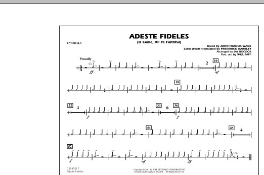 Adeste Fideles (O Come, All Ye Faithful) - Cymbals (Marching Band)