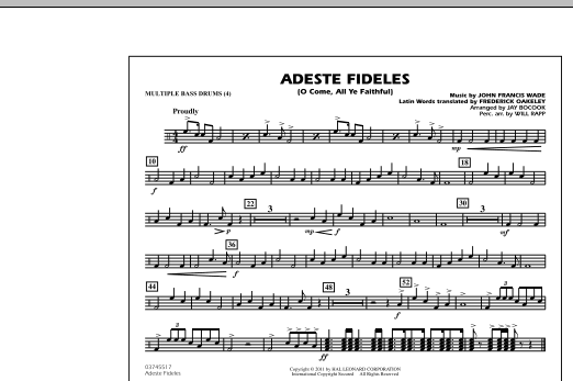 Adeste Fideles O Come All Ye Faithful Multiple Bass Drums By Jay Bocook Marching Band Digital Sheet Music