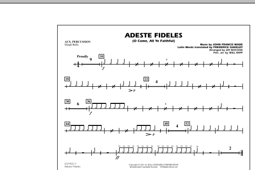 Adeste Fideles (O Come, All Ye Faithful) - Aux Percussion (Marching Band)
