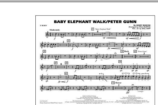 Baby Elephant Walk/Peter Gunn - F Horn (Marching Band)