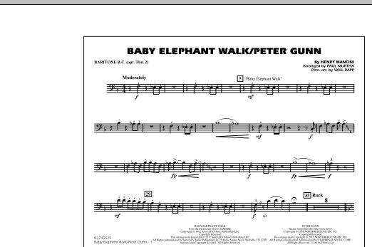 Baby Elephant Walk/Peter Gunn - Baritone B.C. (Opt. Tbn. 2) (Marching Band)