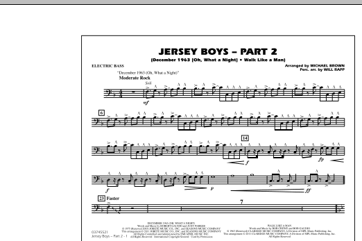 Jersey Boys: Part 2 - Electric Bass (Marching Band)