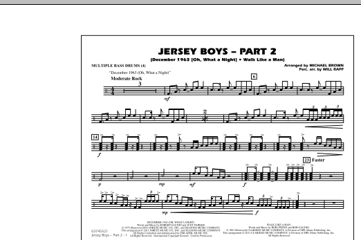 Jersey Boys: Part 2 - Multiple Bass Drums (Marching Band)