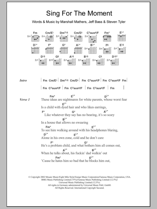 Sing For The Moment | Sheet Music Direct