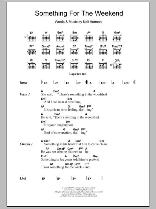 Something For The Weekend By The Divine Comedy Guitar Chords