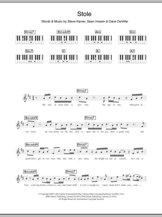 Stole Sheet Music