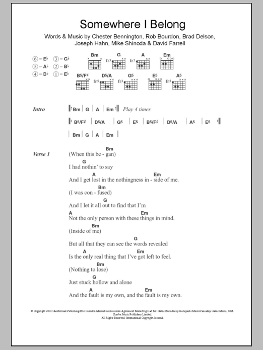Somewhere I Belong Sheet Music | Linkin Park | Lyrics & Chords