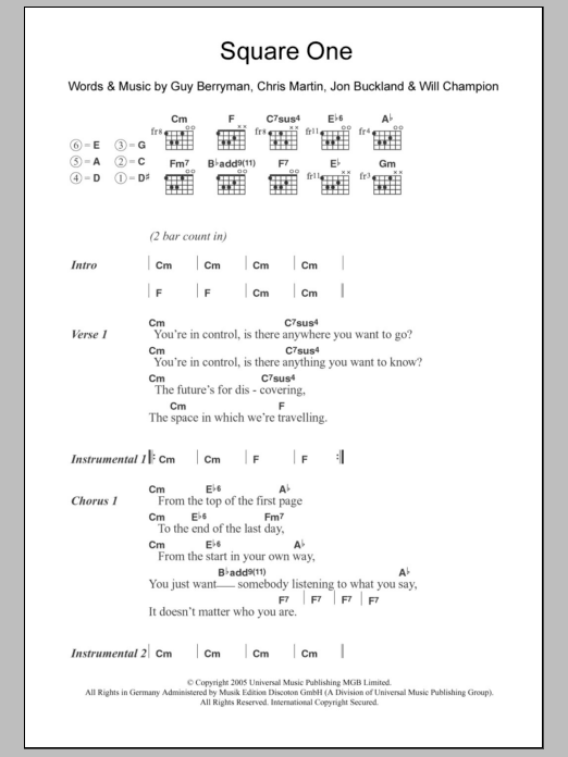Square One By Coldplay Guitar Chordslyrics Guitar Instructor