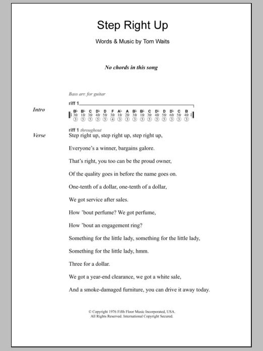 Step Right Up by Tom Waits - Guitar Chords/Lyrics - Guitar Instructor