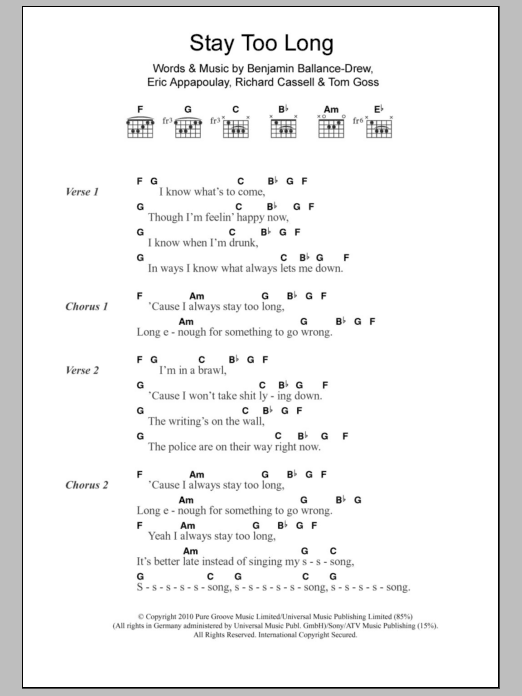 Stay Too Long Sheet Music