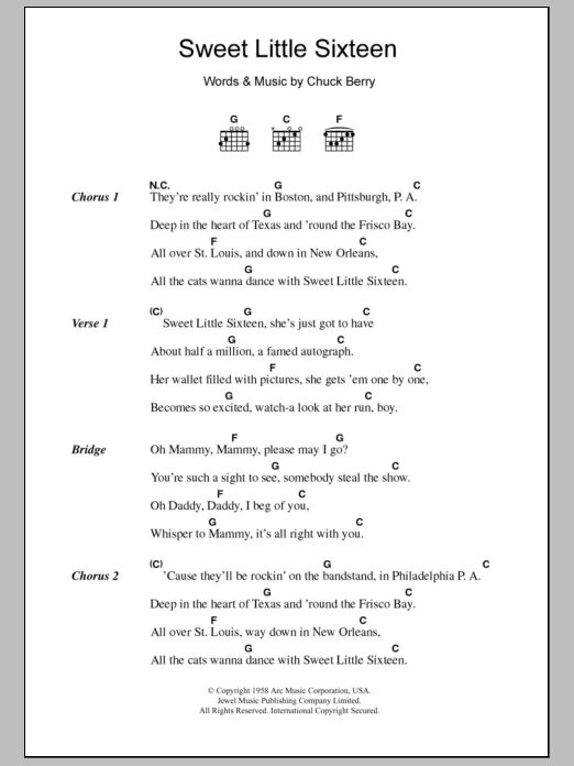 Sweet Little Sixteen Sheet Music Chuck Berry Lyrics Chords