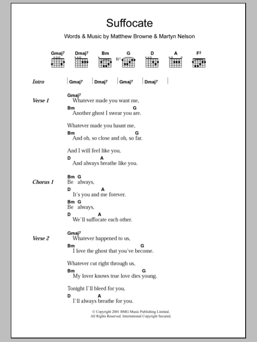 Suffocate Sheet Music