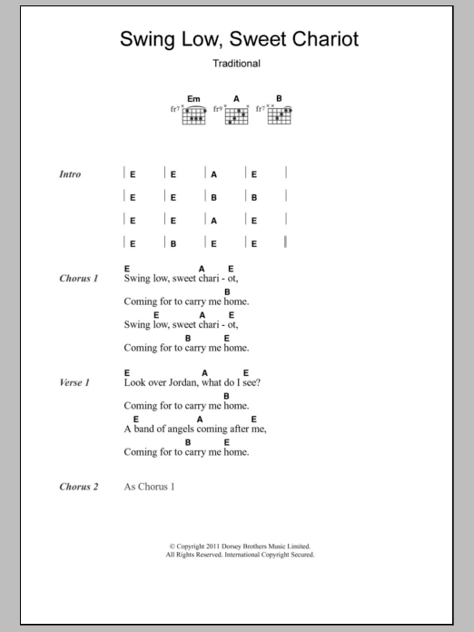 Swing Low Sweet Chariot Sheet Music Direct
