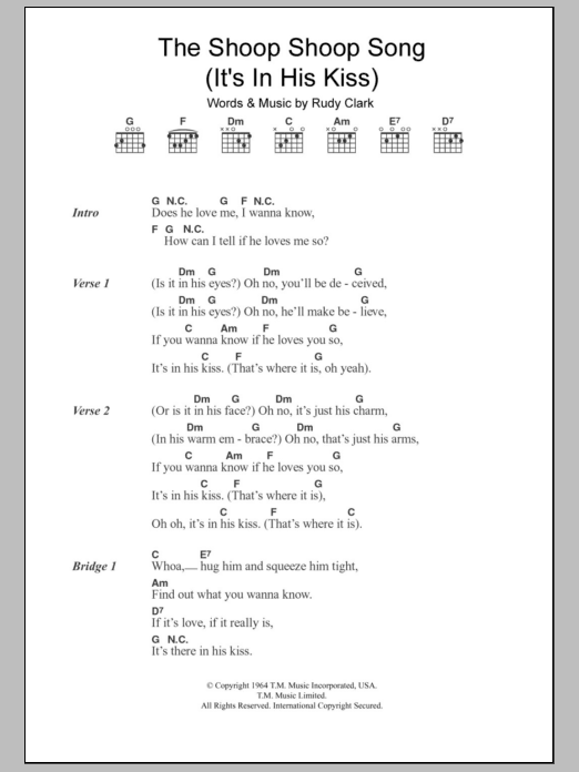 The Shoop Shoop Song (It's In His Kiss) by Cher - Guitar Chords ...