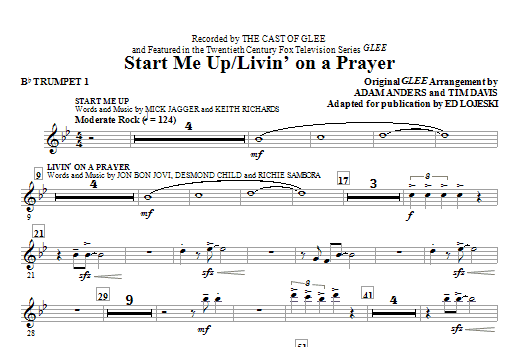 Start Me Up/Livin' On A Prayer (complete set of parts) sheet music for orchestra/band (chamber ensemble) by Glee Cast, Ed Lojeski, Bon Jovi, Desmond Child, Miscellaneous and Richie Sambora. Score Image Preview.