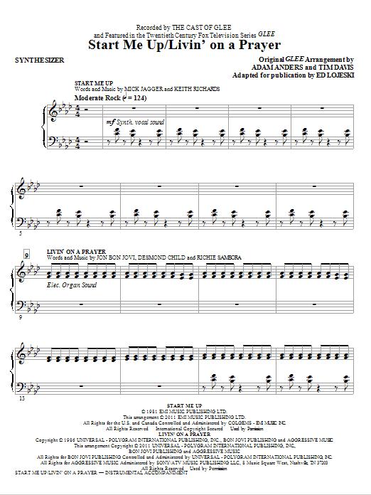 Start Me Up/Livin' On A Prayer - Synthesizer (Choir Instrumental Pak)