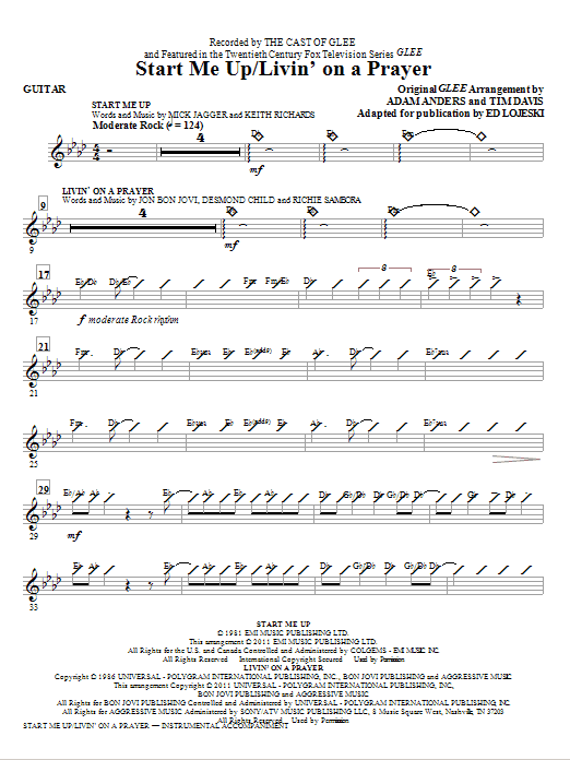 Start Me Up/Livin' On A Prayer - Guitar (Choir Instrumental Pak)