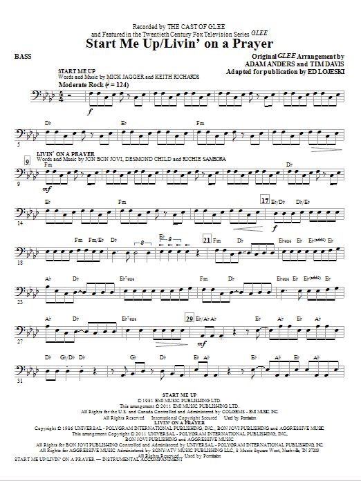 Start Me Up/Livin' On A Prayer - Bass (Choir Instrumental Pak)