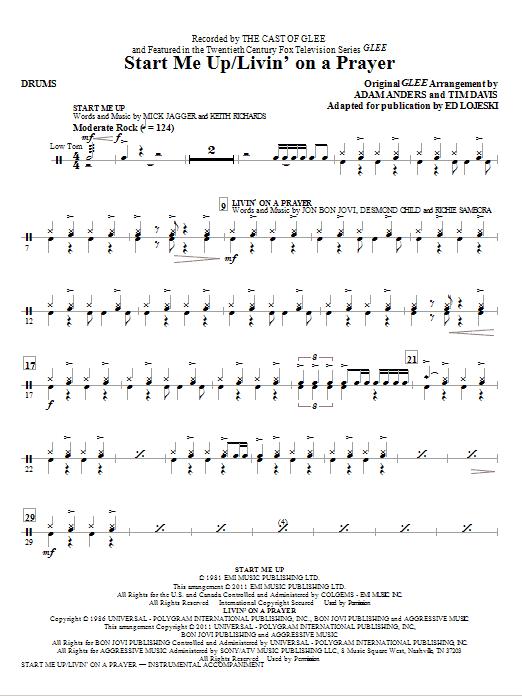 Start Me Up/Livin' On A Prayer - Drums Sheet Music