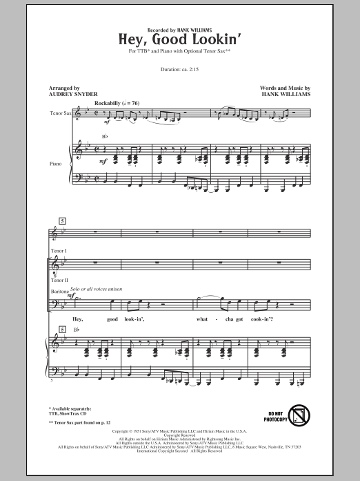 Hey, Good Lookin' Sheet Music