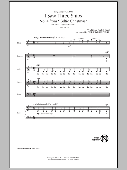 Partition chorale I Saw Three Ships de Philip Stopford - SATB