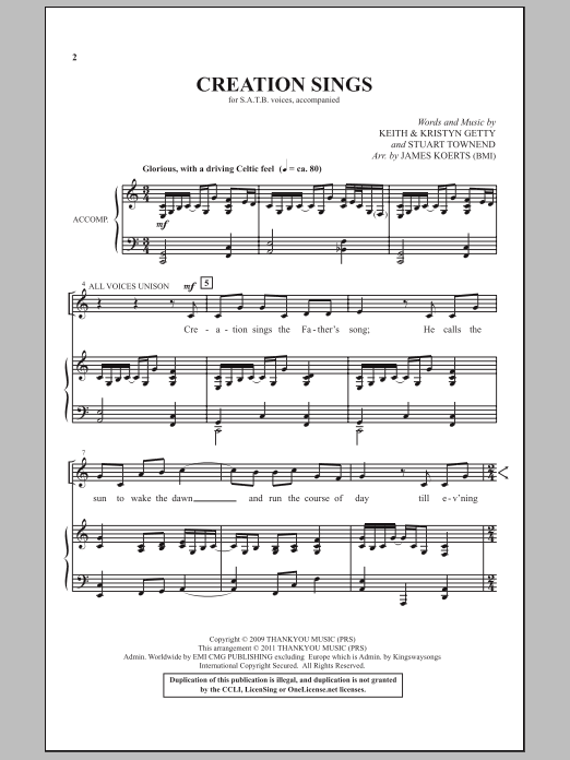 Creation Sings Sheet Music