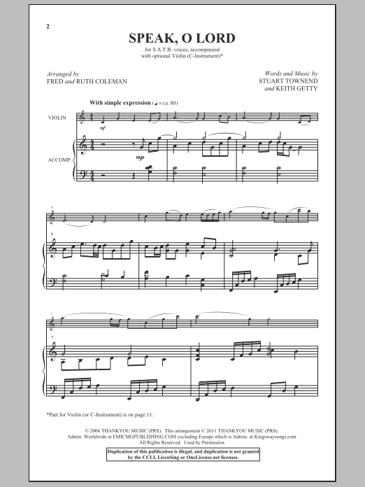 Speak, O Lord Sheet Music