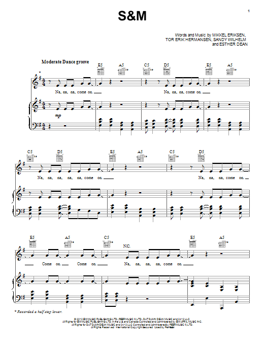 S&M (Piano, Vocal & Guitar (Right-Hand Melody))