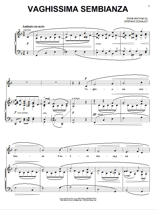 Partition piano Vaghissima Sembianza de Stefano Donaudy - Piano Voix Guitare (Mélodie Main Droite)